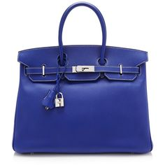 Heritage Auctions Special Collection Hermes 35Cm Blue Electric and... (108.080 BRL) ❤ liked on Polyvore featuring bags, handbags, leather bags, royal blue purse, real leather handbags, real leather purses and genuine leather handbags