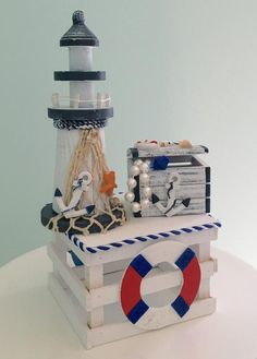 Adorable Lighthouse Nautical Theme Baby Shower Centerpiece, Wooden Treasure Box Decoration for a Baby Shower, popular birthday centerpieces - New Deko Sites Baby Shower Decorations For Boys, Baby Shower Themes, Baby Boy Shower, Baby Showers, Shower Ideas, Birthday Centerpieces, Baby Shower Centerpieces, Sailor Baby, Nautical Party