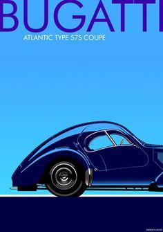 Bugatti Atlantic 1930s art deco poster. Check out the lines!
