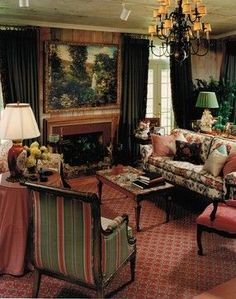 Salmon/green color scheme, heavy curtains, art, skirted side table, chandelier | English Country Style