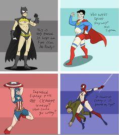 If Male Superhero Costumes were Designed Like Female Superhero Costumes