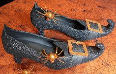 DIY Witch Shoes - Ordinary shoes are repurposed into Witch shoes using paper mache, glue, embellishments and glitter!