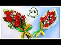 Магнит на холодильник. Розы из лент. Канзаши. МК. / DIY. Kanzashi. Fridge magnet. Roses - YouTube