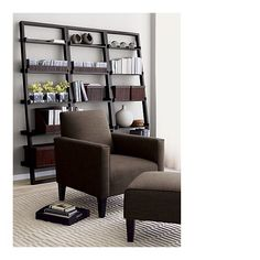 Also like the look of these Sloane leaning shelves from Crate & Barrel for our den