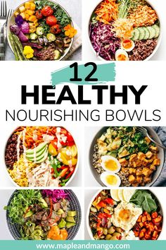 Looking for a balanced nutritious delicious and easy to make meal idea Learn how to build a healthy nourish bowl using this simple formula. Great for lunch dinner and meal prep Clean Eating Recipes, Lunch Recipes, Whole Food Recipes, Vegetarian Recipes, Vegan Vegetarian, Healthy Vegetarian Lunch Ideas, Clean Eating Meal Plan, Sandwich Recipes, Recipes Dinner