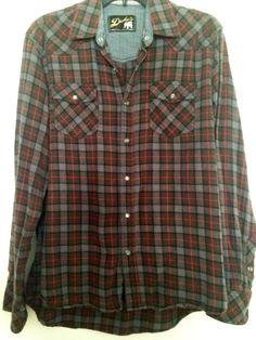 Men s Duke s Sportswear Snap Front Plaid Flannel Western Shirt Size Large   Duke  Western Blue cbca0376f