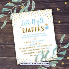 Boy Shower Late Night Diapers Baby Shower Game Printable
