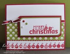 Christmas in July!  Festive Christmas Card featuring Stampin' Up! Christmas Bliss Photopolymer Stamp Set in Cherry Cobbler and Old Olive.
