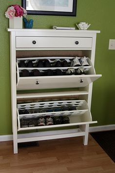 Ikea shoe rack, can be installed in the entrance. we got a similar shoe rack like this from ikea as well, there's just not enough space to put all the shoes though Lobby Design, Hemnes Shoe Cabinet, Shoe Dresser, Slim Shoe Cabinet, Shoe Cupboard, Hallway Storage, Shoe Storage For Bedroom, Front Door Shoe Storage, Ikea Hallway