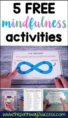 Check out these 5 free mindfulness activities you can use with kids and teens today to help them become more focused, positive, and in control of emotions! Use mindful coloring, mindful breathing, pos What Is Mindfulness, Mindfulness For Kids, Mindfulness Activities, Mindfulness Meditation, Breathing Meditation, Mindfulness Practice, Mindfulness Benefits, Mindfulness Therapy, Mindfulness Training