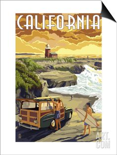 California Coast - Woody and Lighthouse SwitchArt™ Print by Lantern Press at Art.com
