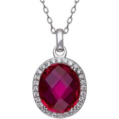 Oval Lab Created Ruby and White Topaz Pendant Necklace in Sterling... (345 PLN) ❤ liked on Polyvore featuring jewelry, necklaces, accessories, sterling silver charms pendants, enhancer pendant, imitation jewellery, ruby jewellery and sterling silver round pendant
