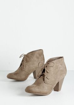 Have I Got Shoes for You! Bootie in Sand. Your search for the perfect pair is over, all thanks to these taupe booties! #tan #modcloth