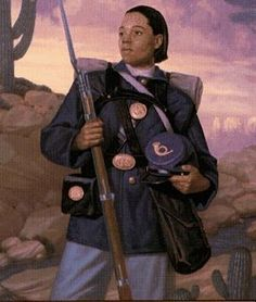 """Cathay Williams (1842 – ) lived out the mantra, """"I can do anything you can do better"""". She was the first and only known female Buffalo Soldier. She was born into slavery and worked for the Union army during the Civil War. She posed as a man and enlisted as Williams Cathay in the 38th infantry in 1866. She was given a medical discharge in 1868."""