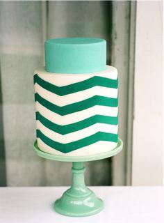 zig-zag-cake-teal-wedding-cake - Once Wed Pretty Cakes, Beautiful Cakes, Color Verde Jade, Chevron Cakes, Emerald Green Weddings, Mint Weddings, Turquoise Weddings, Green Cake, Once Wed