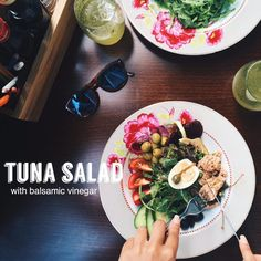 Tuna salad with balsamic vinegar #bisquecafe #beatgroup #baku #azerbaijan #tasty #healthycafe #food #delicious #yummy #salads #snacks #tunasalad