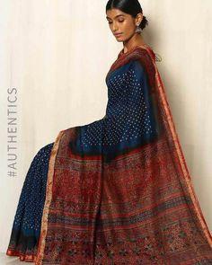 Kutch Bandhani Ajrak Silk Cotton Chanderi Saree