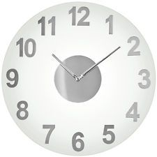 Wall Clock Contemporary Time Round Glass Brand New Free Delivery By Premier