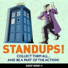 """These 10"""" tall Cardboard Standups will give any desk or bookcase a little Whovian flair. Collect all 6! TARDIS, Eleventh Doctor, Cyberman, Dalek, Silence, & Weeping Angel! Doctor Who Shop, New Doctor Who, Eleventh Doctor, Dalek, Dr Who, Tardis, Bookcase, Shop Now, Joker"""