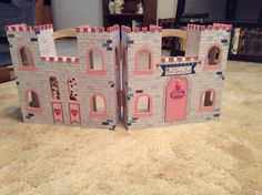 Exterior of Happily Ever After Castle Dollhouse, Toy Castle, Dollhouse Dolls, Dollhouse Miniatures, Art For Kids, Crafts For Kids, Wooden Castle, Castle Painting, Castle Pictures
