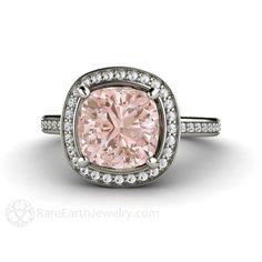 2ct Cushion Morganite Engagement Ring Platinum Diamond Halo Fleur de Lis Morganite Ring Unique Engagement by RareEarth on Etsy https://www.etsy.com/listing/216062706/2ct-cushion-morganite-engagement-ring