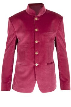 Pink velvet bandhgala jacket available only at Pernia's Pop-Up Shop.