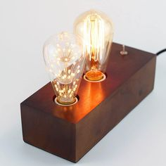 Vintage Handmade Wooden Table Lamp - #TableLamps #Bedroom #DIY #Edison #Handmade #LightBulb #Simple #Steampunk #Wood (source: idlights.com)