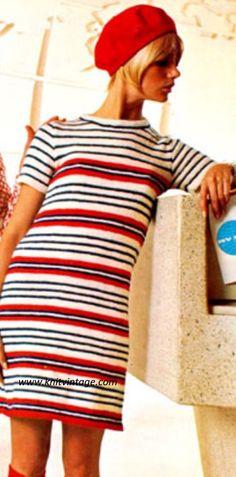 60s Striped Mini Dress Knitting Pattern by AuthenticIrish on Etsy