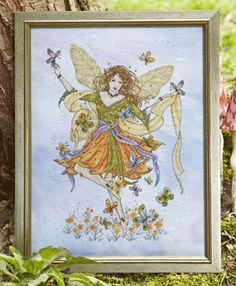 Joan Elliot Designs, Butterfly Fairy cross stitch, using Kreinik metallic threads