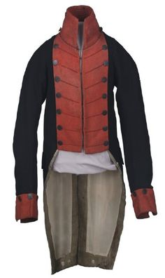 Image of 1980.02.01a, Coatee  This military uniform coatee was worn by Jarvis Jackson during the War of 1812 in service with the Kentucky Militia as a lieutenant in Captain James McNiel's Company, Second Regiment, Kentucky Militia, from September 1, 1812, through October 1, 1812.