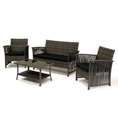 Introducing the Manhattan Beach Collection by Sol Siesta, a 4-piece deep seating set of hand woven indoor/outdoor patio furniture with easy assembly. Made of 100% virgin resin for long lasting performance and style, this comfortable ergonomic conversation set will seat up to 4 people. The set includes 2 single chairs, 1 double lounge loveseat and 1 coffee-magazine table with a tempered glass top. Also included are black marine canvas cushions. The cushion covers are machine washable. The...