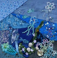 I ❤ crazy quilting, embroidery & tatting . . . CQI Under the Sea DYB my own, By peltolaritva