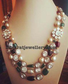 Polki Stones with Kundan Beads Set - Jewellery Designs