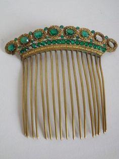 Old-jewelry-crown-tiara-comb-diademe-metal-decor-empire-green-stone-19em