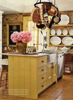 French kitchen in stone cottage