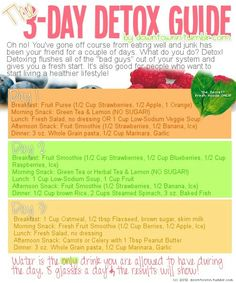 3 day detox diet, might start here since Ive been having problems getting back on track.. Since I havent been able to exercise due to my hamstring Ive felt sluggish because Ive maintained my junk food intake... maybe this will help? Lose up to 10lbs in only *3 Days*