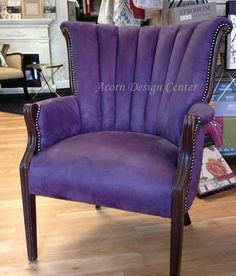Fabulous job modernizing a traditional channel-back chair by Acorn Design Center. Love it!