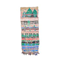BOUCHEROUITE Kilim Rug. Mid Century Modern Wall Art. Abstract Bohemian 60s Moscow Painting Kilim. Danish Pottery Compliment. Mint Turquoise.