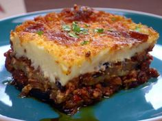 Moussaka recipe from Bobby Flay via Food Network, One of my favorite recipes from Throwdown With Bobby Flay, Mousakka Eggplant Moussaka, Eggplant Lasagna, Food Network Recipes, Cooking Recipes, Cooking Games, Healthy Recipes, Easy Recipes, Healthy Snacks