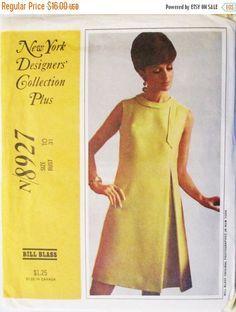 1960s Vintage Sewing Pattern McCalls 8927 Bill Blass Misses Dress Pattern Size…
