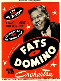 Fats Domino Nostalgic Rock and Roll Music x Concert Poster Pops Concert, Concert Flyer, Tour Posters, Band Posters, Event Posters, Vintage Concert Posters, Vintage Posters, Retro Posters, 1950s Rock And Roll