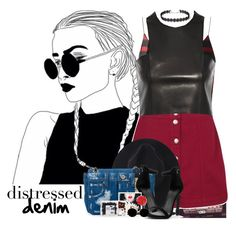 """523->Distressed Denim"" by dimibra ❤ liked on Polyvore featuring Boohoo, Balmain, Moschino, Miu Miu, polyvorefashion and polyvoreset"