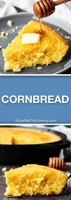 Only ONE bowl and NINE ingredients necessary for this Easy Cornbread Recipe! This cornbread contains no flour – so it's gluten free – and TWO kinds of corn: creamed corn and sweet corn! showmetheyummy.com