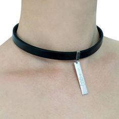 Silver soundwave leather choker necklace by CustomLeatherDesign