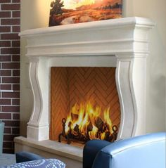 The Avant is a contemporary stone mantel with a few optional accessories