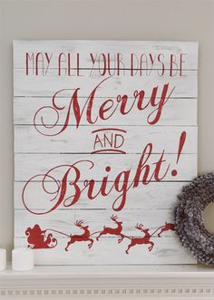 love this chalkboard distressed merry and bright christmas sign for the mantle also love that - Merry Christmas Wooden Sign