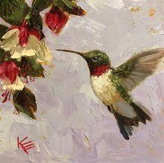 An Original Fine Art Gallery by Daily Paintworks Bird Paintings On Canvas, Bird Painting Acrylic, African Art Paintings, Spring Painting, Diy Canvas Art, Watercolor Bird, Hummingbird Pictures, Hummingbird Art, Biology Art