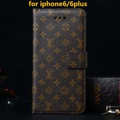Luxury logo leather case For iPhone 6 Plus wallet case