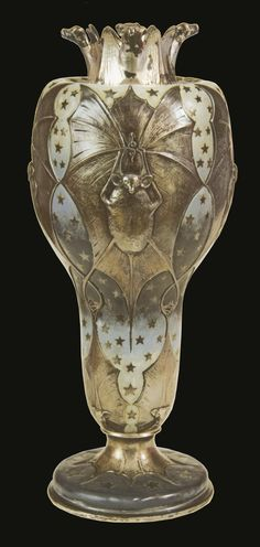 """Tiffany & Company, New York City. A stylized, """"Bat Vase"""", created with silver and enamel.  A flying bat detailed against a starry night sky. Created during America's Gilded Age in c.1893, for the Tiffany Exhibit, which was located at the World's Columbian Exposition, in Chicago, IL. ~  {cwlyons} ~ (Original image: Sotheby's Auction)"""