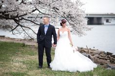 Washington DC | Cherry Blossoms | Wedding | Hayley Paige Wedding Gown Courtesy of The Dress Theory | All About Romance Custom Cherry Blossom Hair Piece | Photo Credit: Alison Marie Photography | Styled Shoot by Julie Paisley Photography